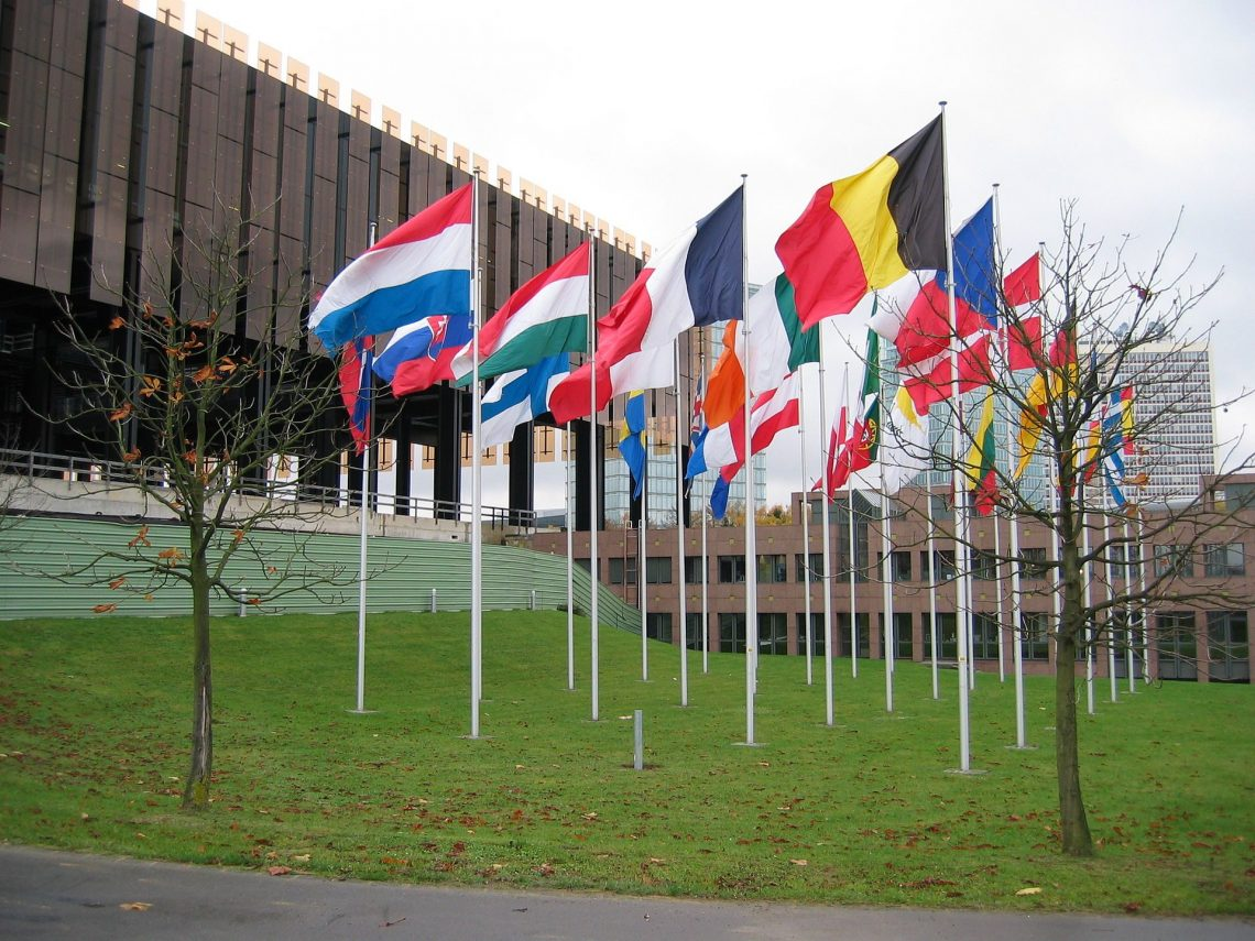 European Court of Justice ECJ in Luxembourg with flags 0017 1674479483